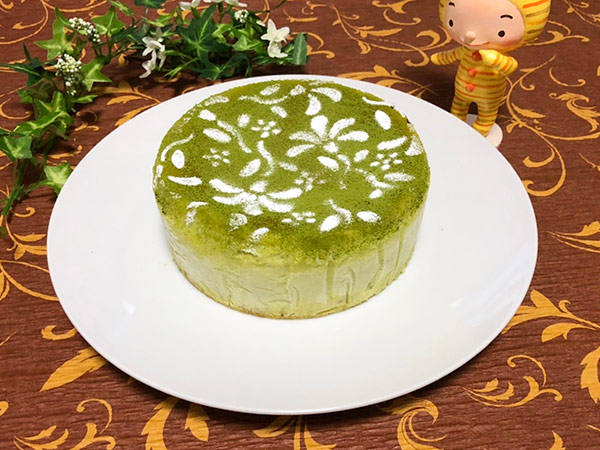 抹茶のチーズケーキの画像